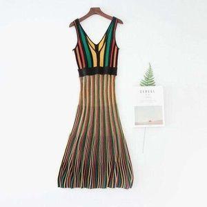 Uterque Listado Multicolor High Low Dress